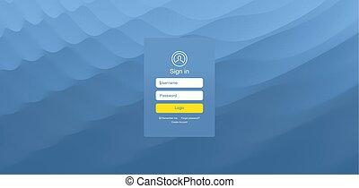 site web, toile, illustration., mobile, écran, moderne, vecteur, conception, utilisateur, interface., login, app, element., design.