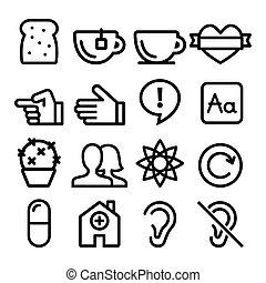 site web, toile, plat, icônes, utilisateurs, -, collection, conception, blog, ligne, navigation, magasin, icône