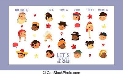 site web, traveling., amitié, dress., illustration., bannière, national, multiculturel, vecteur, enfants, traditionnel, s, gosses, laisser, déguisement, caractères, nationalités, international, world., voyage