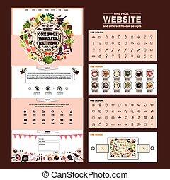 site web, une, conception, gabarit, adorable, page