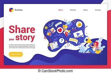 site web, vecteur, illustration., histoire, atterrissage, page, dessin animé, ton, part