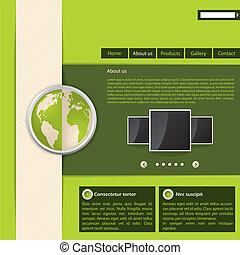 site web, verde, desenho, modelo