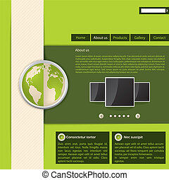 site web, vert, conception, gabarit