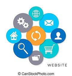 site web, vetorial, ícones