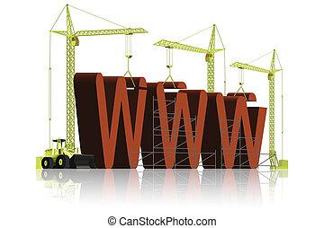 site web, www, construction, sous