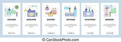 site, website, banner, væv formgiv, ambulant, screens., transportable, amplifier., app, onboarding, konsol, menu, gaming, illustration, skabelon, batteri, lejlighed, development., audio, vektor