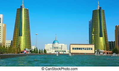 Sites of Astana - View of golden towers of Ministry House...