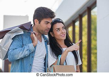 siteseeing, coppia, shopping, vacanza
