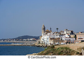 sitges coast view - coastal view and the church in the...