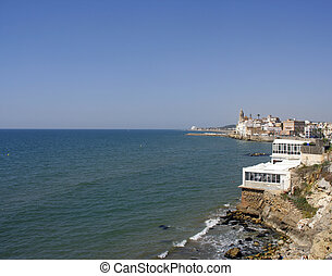 sitges coastal view - coastal view of the catalonian town of...