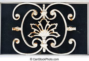 sitges metal - detail of metal work in a door in the town of...