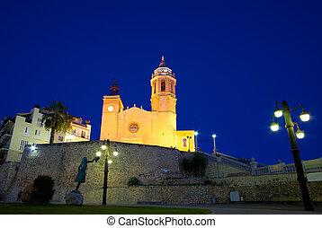 Sitges, 17th century seaside church of Sant Bartomeu i Santa...