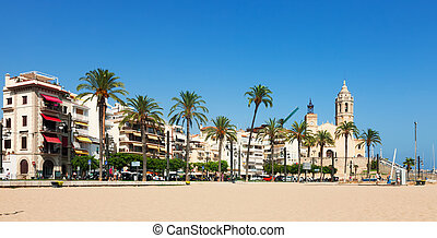 sitges, plaża, prospekt