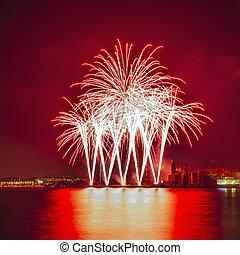 SITGES, SPAIN - AUG 23: Castell de Foc firework display...