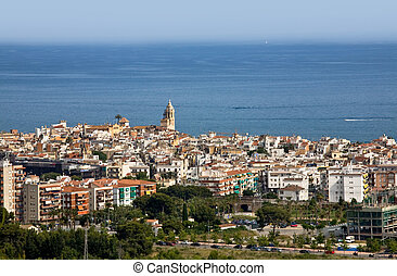 Sitges - View of Sitges 40 south to Barcelona