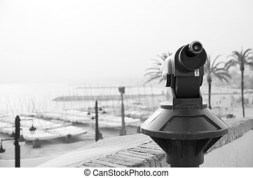 Sitges view - Spyglass at Sitges\' beach in Barcelona