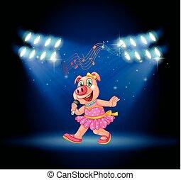 sith, mignon, danse, cochon, lumières, chant, étape