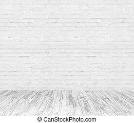 sitio blanco, interior, con, pared ladrillo, y, piso de...