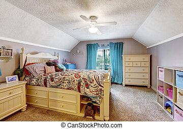 sitio de los cabritos, de madera, interior., cama, cajones, juguetes