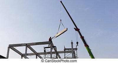 sitio, móvil, intralled, construcción, concreto, precast, rayo, grúa