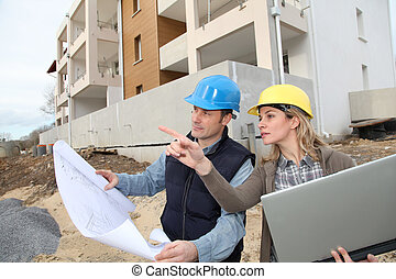 sitio, mirar, construcción, plan arquitecto, ingeniero