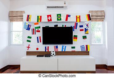 sitio moderno, con, televisión, y, banderas, para, futbol,...