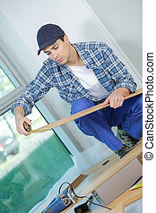 sitio, piso, joven, instalación, construcción, técnico