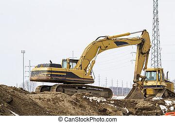 sitio trabajo, excavador, carretera