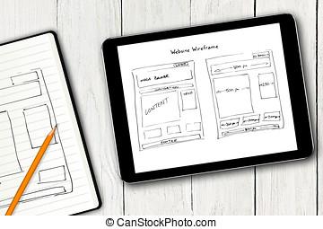 sitio web, bosquejo, tableta, pantalla, wireframe, digital