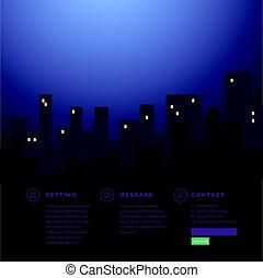 sitio web, ciudad, rascacielos, plano de fondo, noche, vista