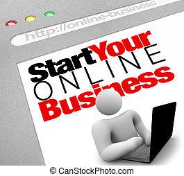 sitio web, -, comienzo, su, en línea, empresa / negocio,...