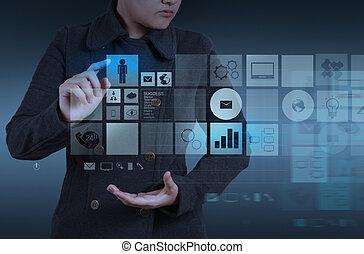 sitio web, concepto, computadora, trabajando, diseñador, diseño, interfaz, nuevo