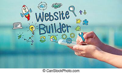 sitio web, constructor, concepto, con, smartphone