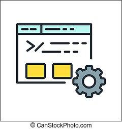 sitio web, datos, icono, color