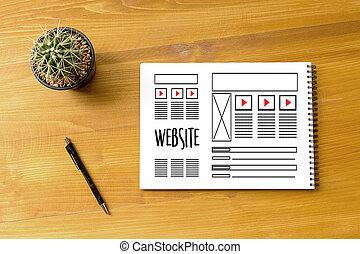 sitio web, desarrollo, bosquejo, diseñador, disposición,...