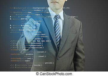 sitio web, desarrollo, código, -, escritura, programador,...