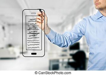sitio web, desarrollo, diseñador, móvil, wireframe, dibujo