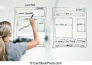 sitio web, desarrollo, diseñador, wireframe, dibujo