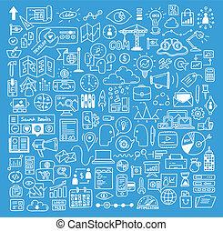 sitio web, desarrollo, elementos, empresa / negocio, doodles