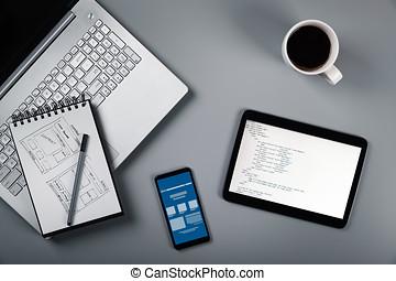 sitio web, desarrollo, en, process., wireframe, bosquejo, y, programación, código