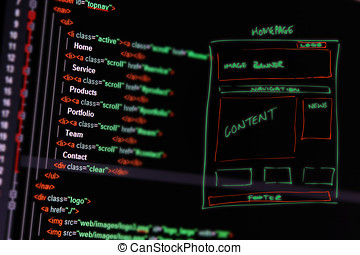 sitio web, desarrollo, -, programación, código, y, wireframe, en, computadora