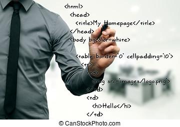 sitio web, desarrollo, -, programador, escritura, html, código