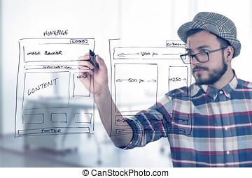 sitio web, diseñador de la tela, wireframe, desarrollo, dibujo