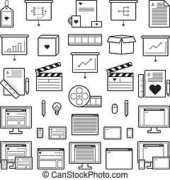 sitio web, diseñador, iconos