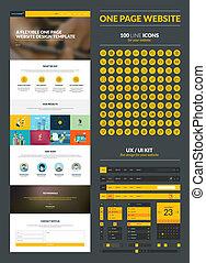 sitio web, diseño, página, plantilla, uno