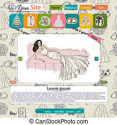 sitio web, elementos, plantilla, boda