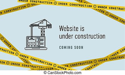 sitio web, en, bajo construcción, bandera, flat., página web, edificio, process., moderno, vector, illustration.