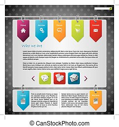 sitio web, etiquetas, diseño, ahorcadura