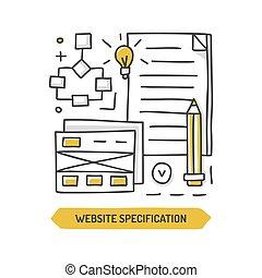 sitio web, garabato, especificación