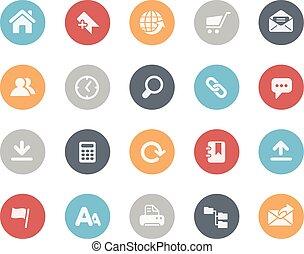 sitio web, iconos, clásico, serie